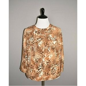 RUBY RD. Animal Print Button Front Jacket